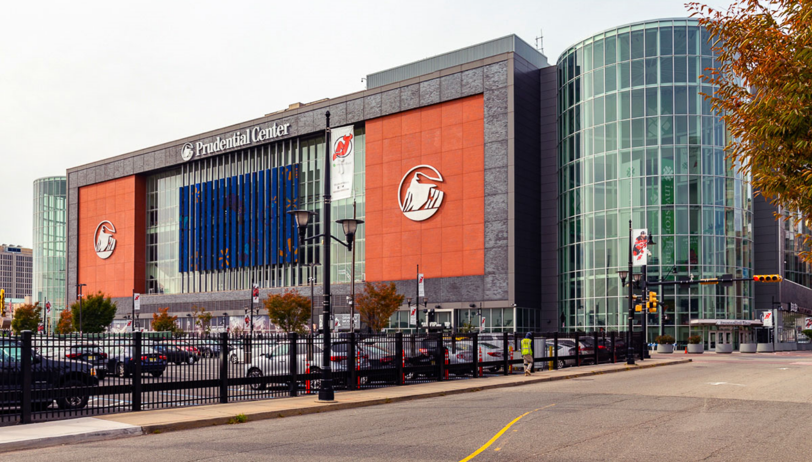 Exterior and parking lot of Prudential Center